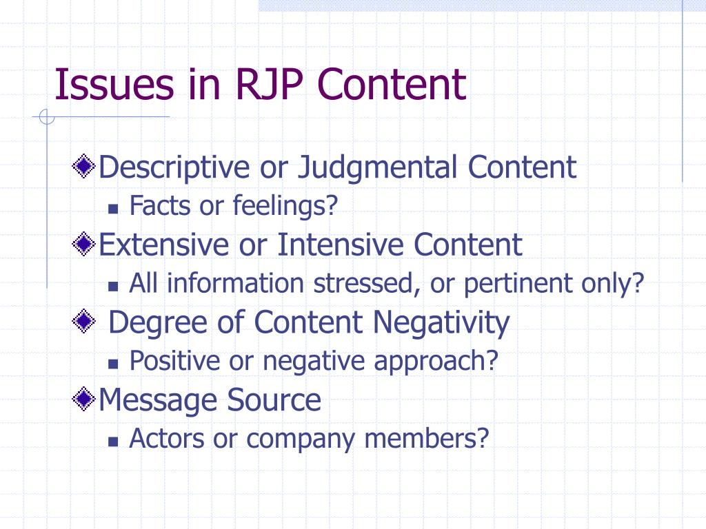 Issues in RJP Content