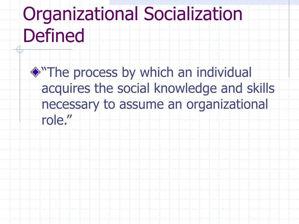 Organizational Socialization Defined