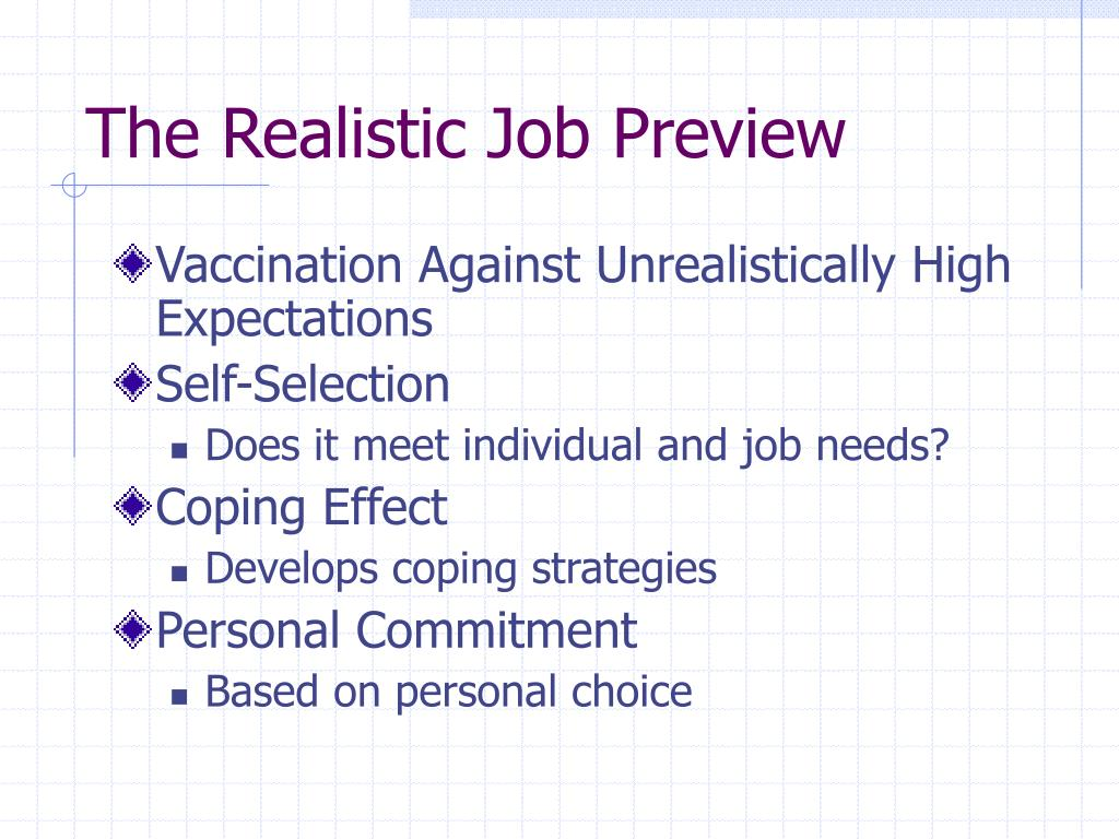 realistic job preview A realistic job preview is important because it gives an applicant realistic expectations about the job  utilizes feedback from supervisors, employees,.