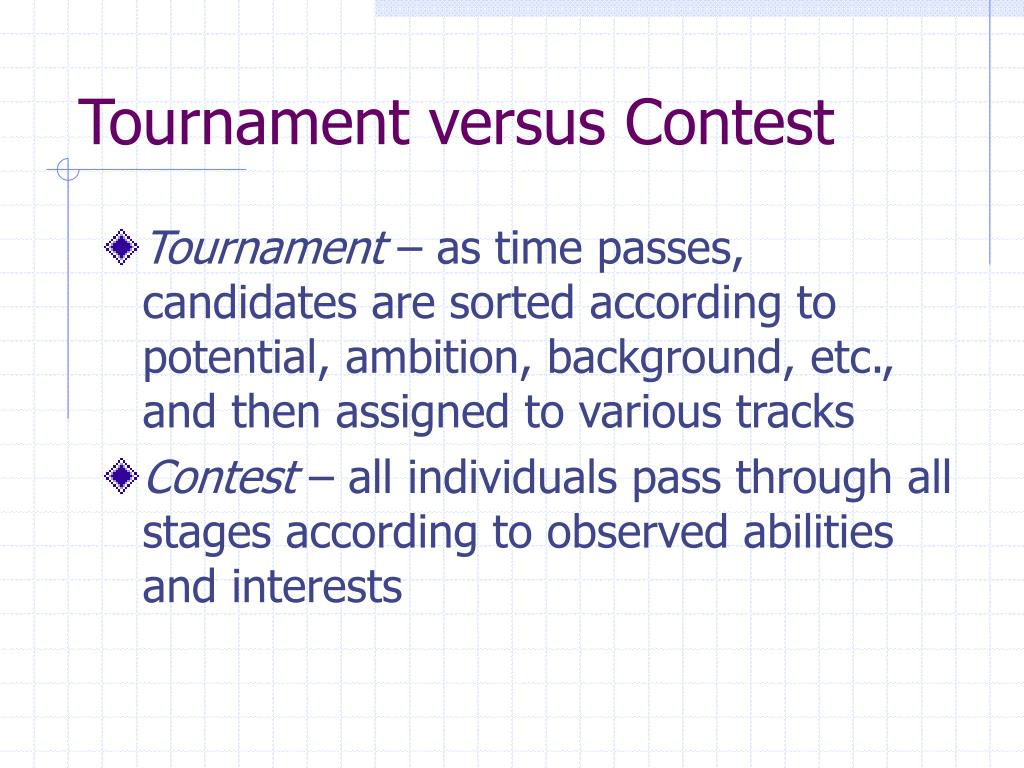 Tournament versus Contest