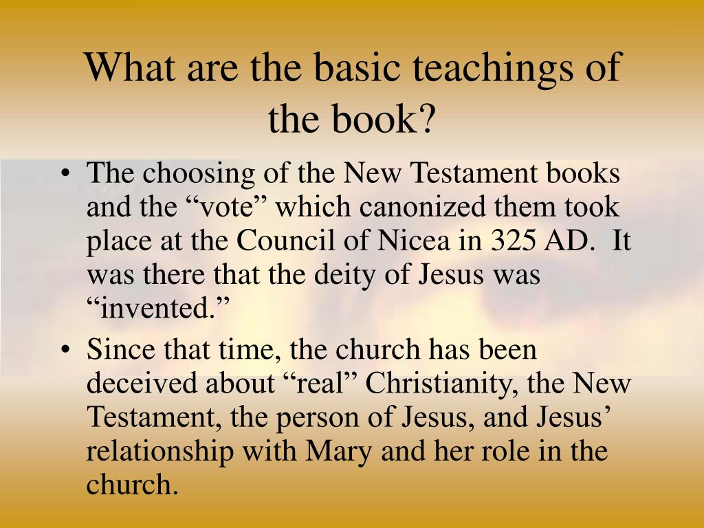 What are the basic teachings of the book?