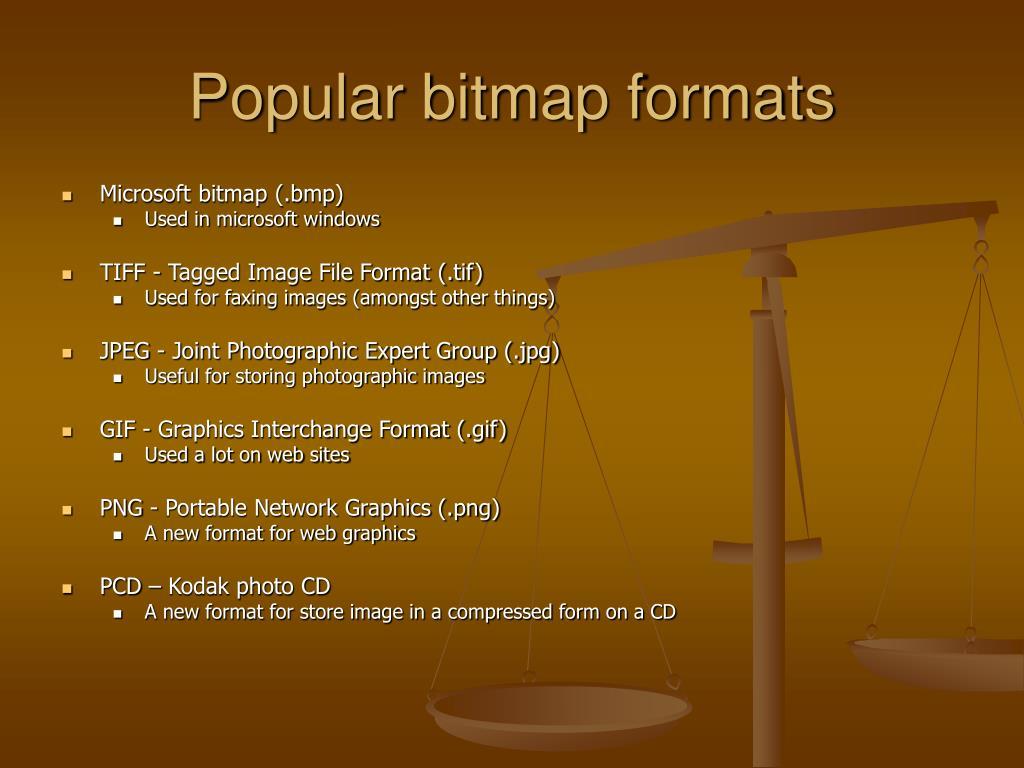 Popular bitmap formats
