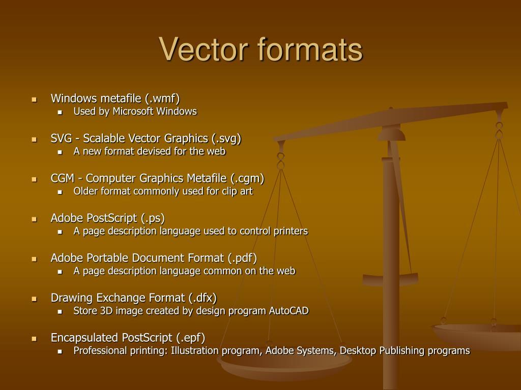 Vector formats