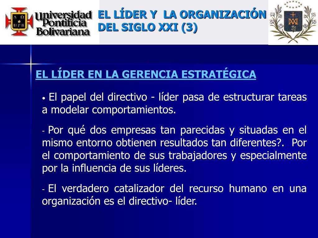 EL LÍDER Y  LA ORGANIZACIÓN DEL SIGLO XXI (3)