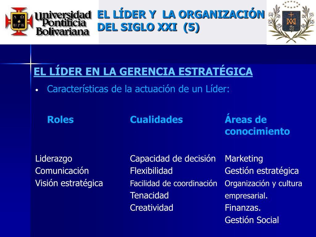 EL LÍDER Y  LA ORGANIZACIÓN DEL SIGLO XXI  (5)