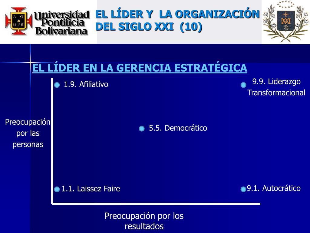 EL LÍDER Y  LA ORGANIZACIÓN DEL SIGLO XXI  (10)