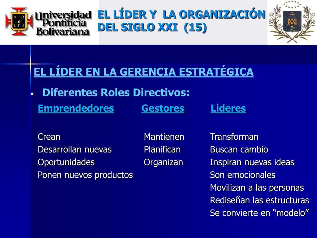 EL LÍDER Y  LA ORGANIZACIÓN DEL SIGLO XXI  (15)