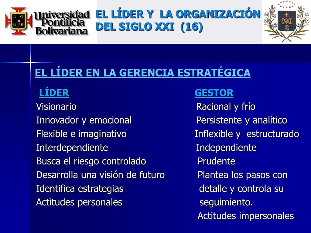 EL LÍDER Y  LA ORGANIZACIÓN DEL SIGLO XXI  (16)