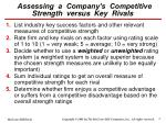 assessing a company s competitive strength versus key rivals