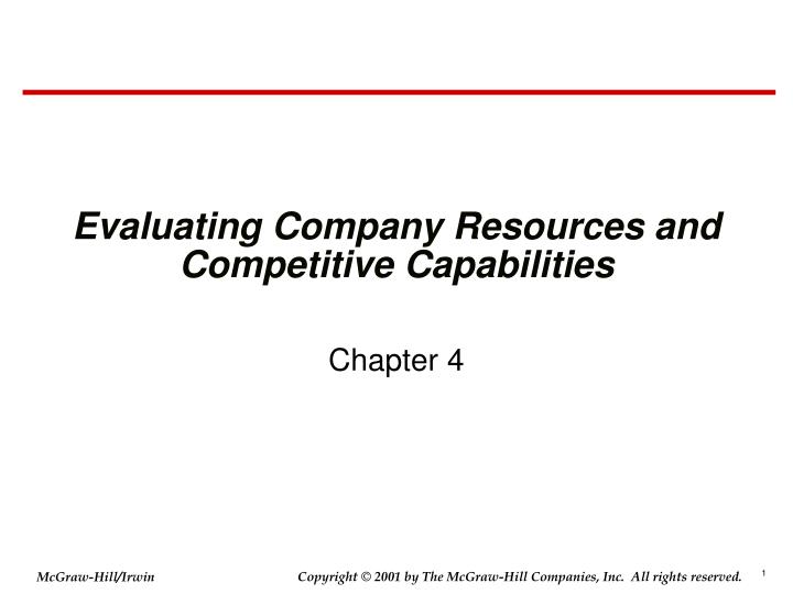 Evaluating company resources and competitive capabilities l.jpg