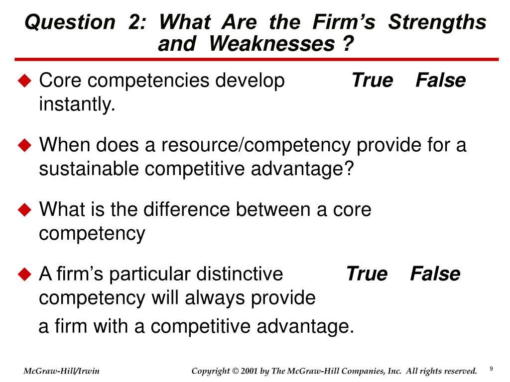 Question  2:  What  Are  the  Firm's  Strengths and  Weaknesses ?