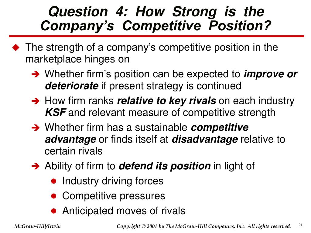 Question  4:  How  Strong  is  the  Company's  Competitive  Position?