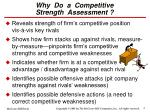 why do a competitive strength assessment