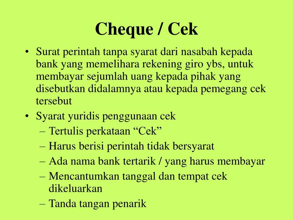 Cheque / Cek