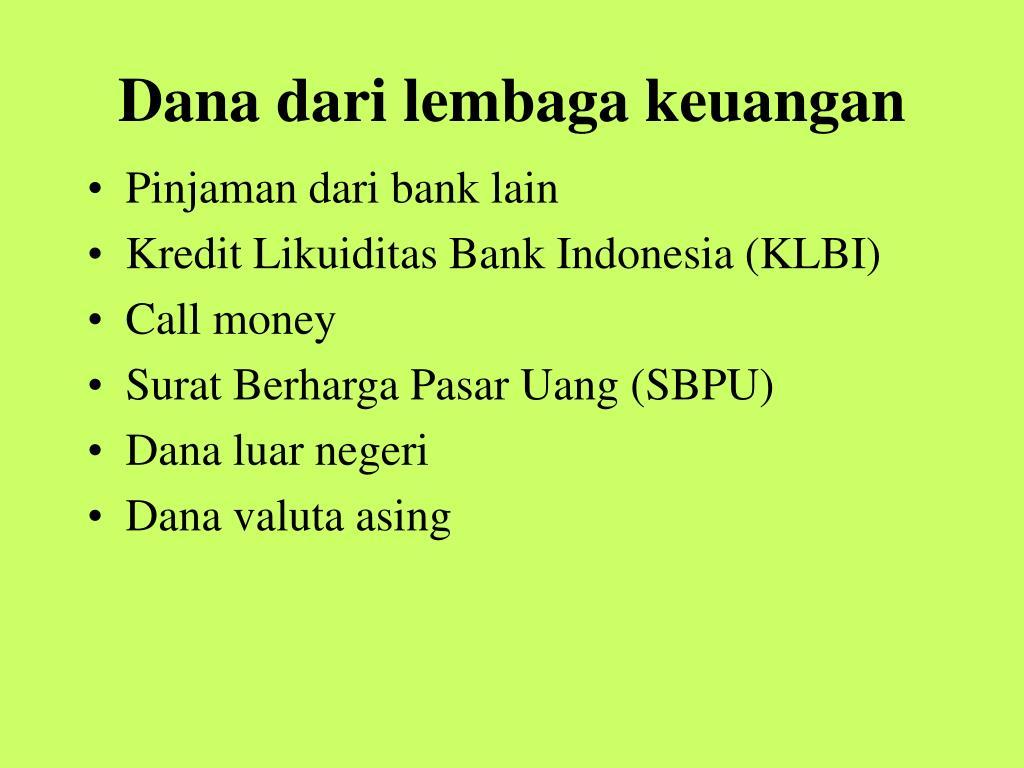 Dana dari lembaga keuangan