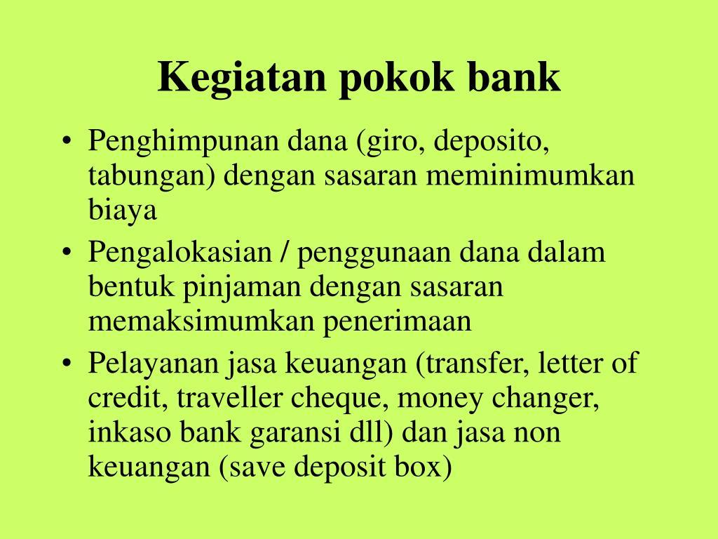 Kegiatan pokok bank