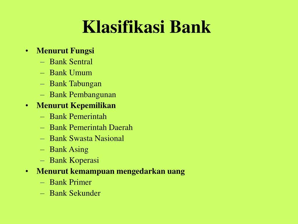 Klasifikasi Bank