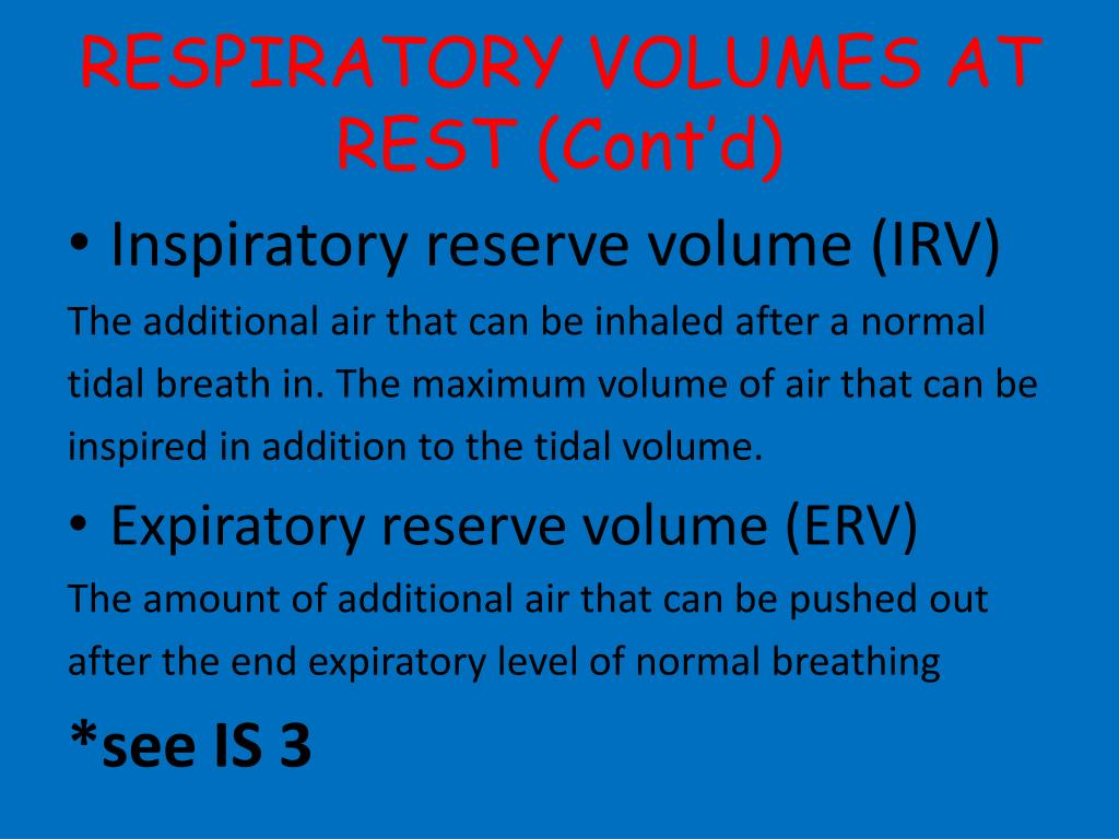 RESPIRATORY VOLUMES AT REST (Cont'd)