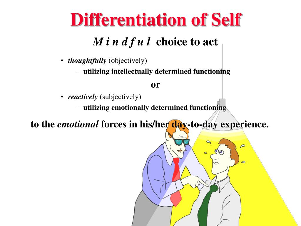 differentiation of self bowen Bowen family systems theory was developed by psychiatrist and researcher dr murray bowen (1913–90) it is a theory backed up by a growing body of empirical research1 in recent years bowen's concept of 'differentiation of self' — which describes differing levels of maturity in relationships — has been shown by researchers to be related to important areas of well-being, including .