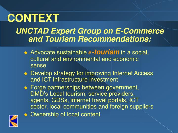 Unctad expert group on e commerce and tourism recommendations