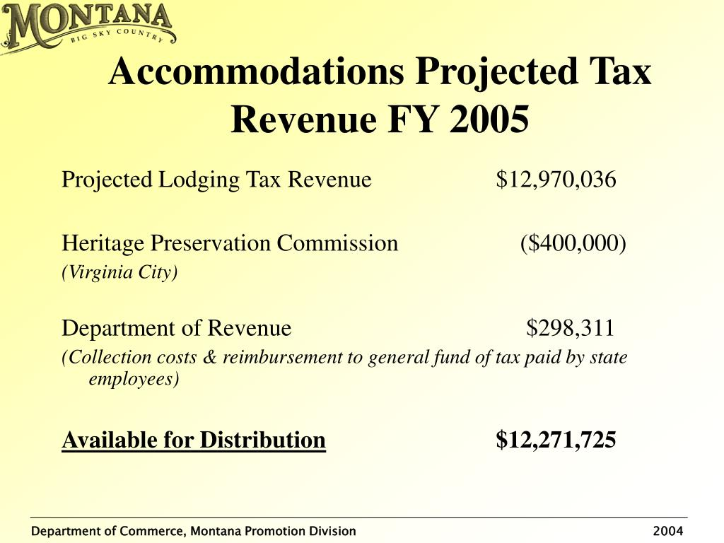 Accommodations Projected Tax Revenue FY 2005