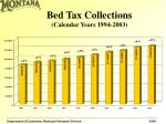 bed tax collections calendar years 1994 2003