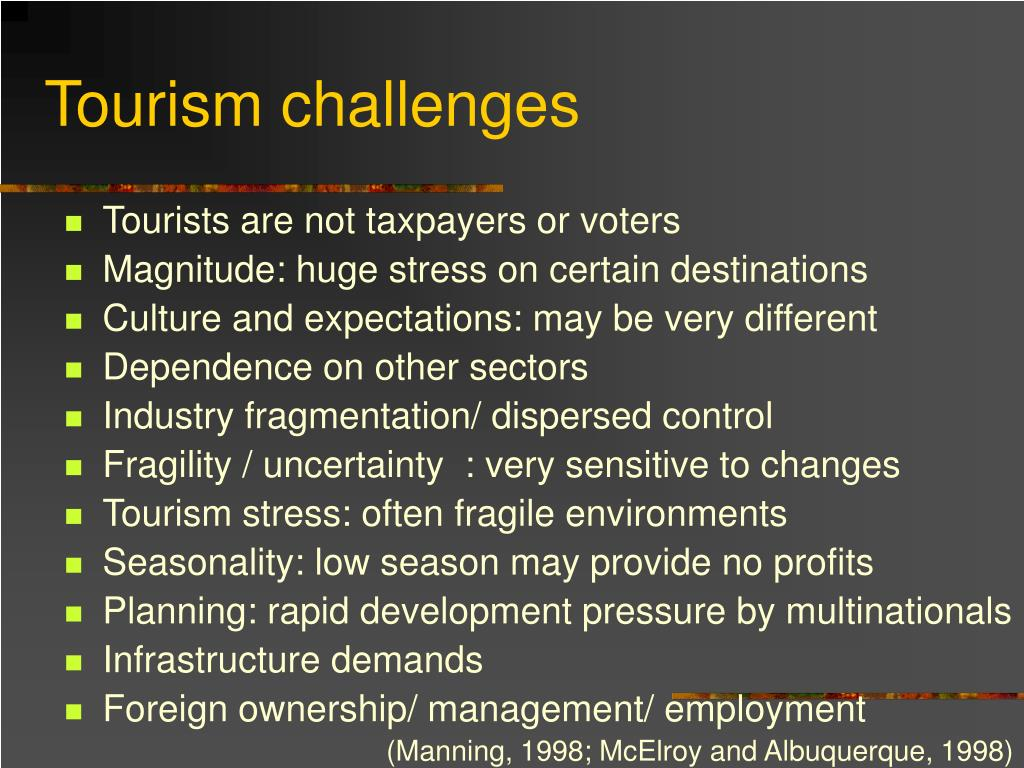 Tourism challenges