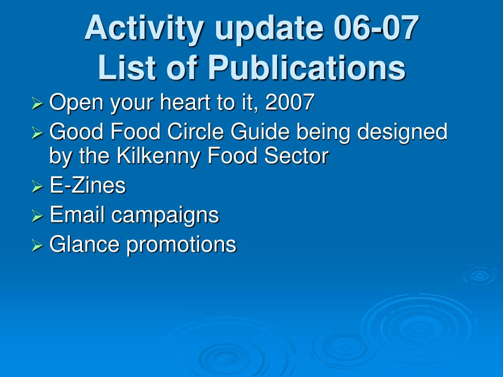 Activity update 06-07