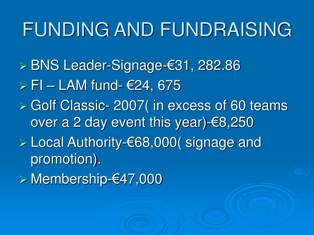 FUNDING AND FUNDRAISING