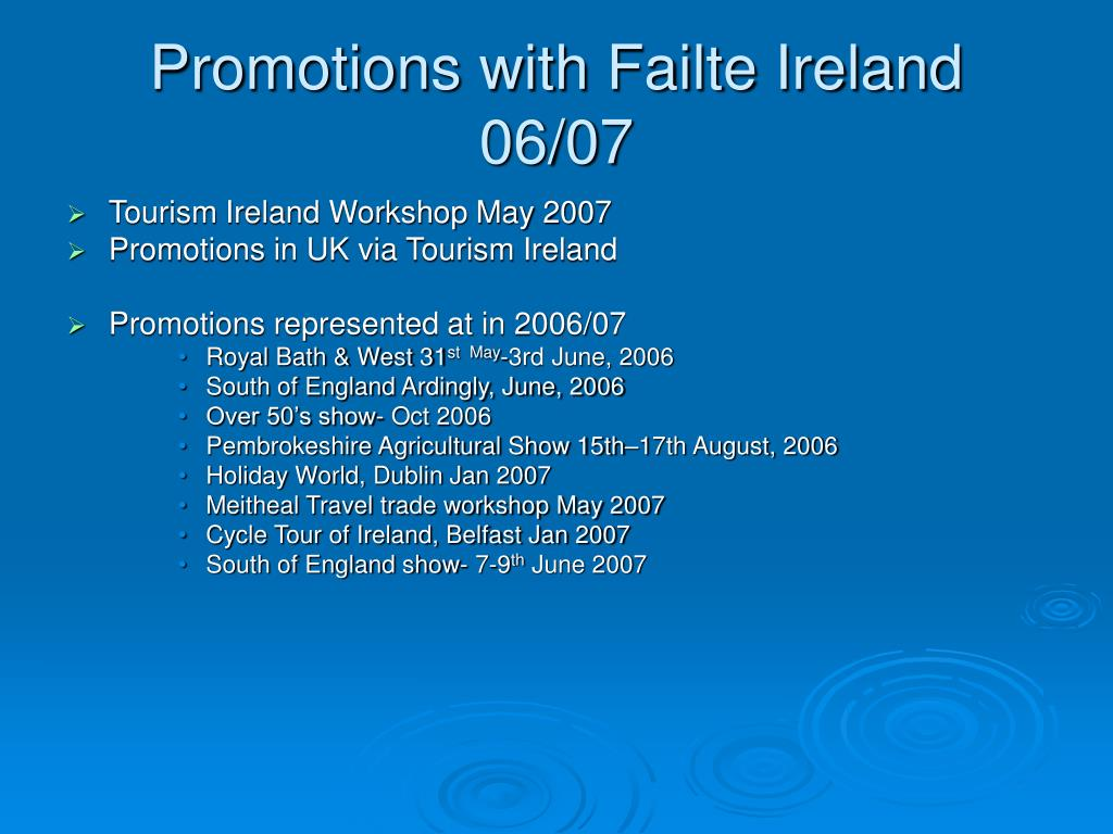 Promotions with Failte Ireland 06/07