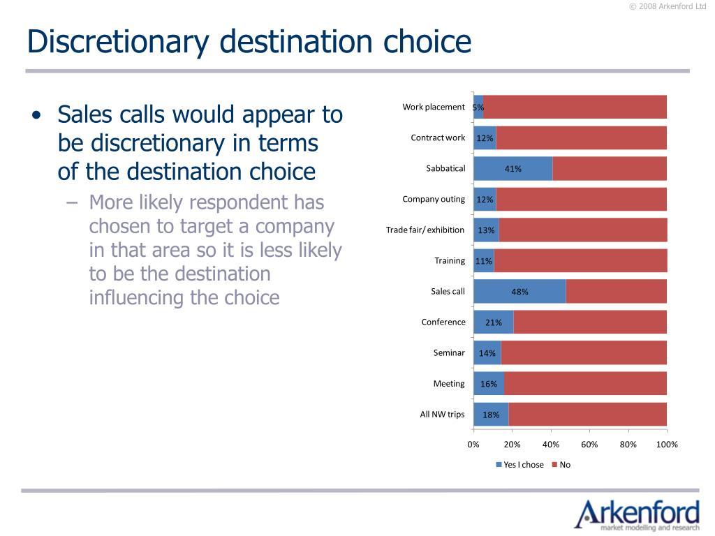 Discretionary destination choice