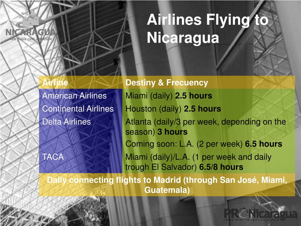 Airlines Flying to Nicaragua