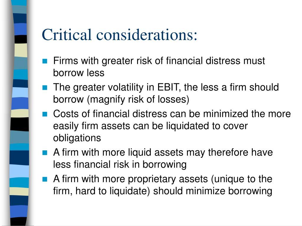 Critical considerations: