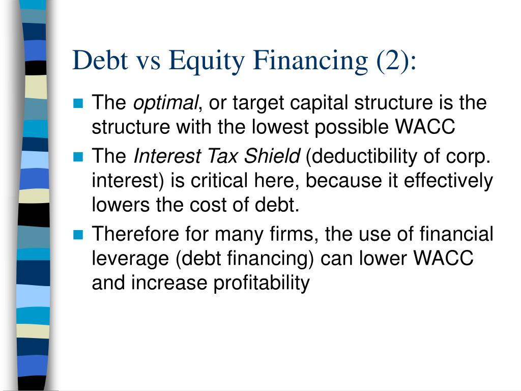 Debt vs Equity Financing (2):