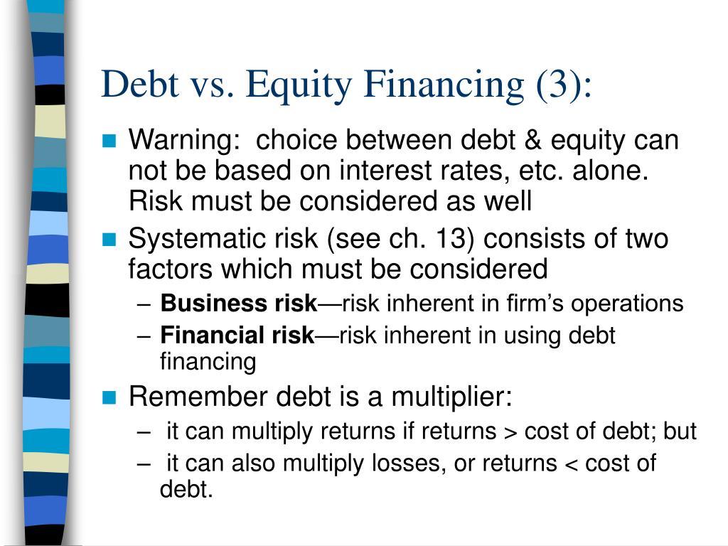 Debt vs. Equity Financing (3):