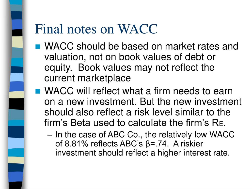 Final notes on WACC
