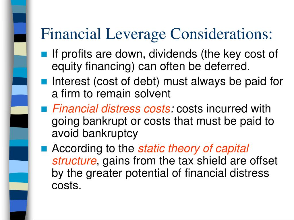 Financial Leverage Considerations: