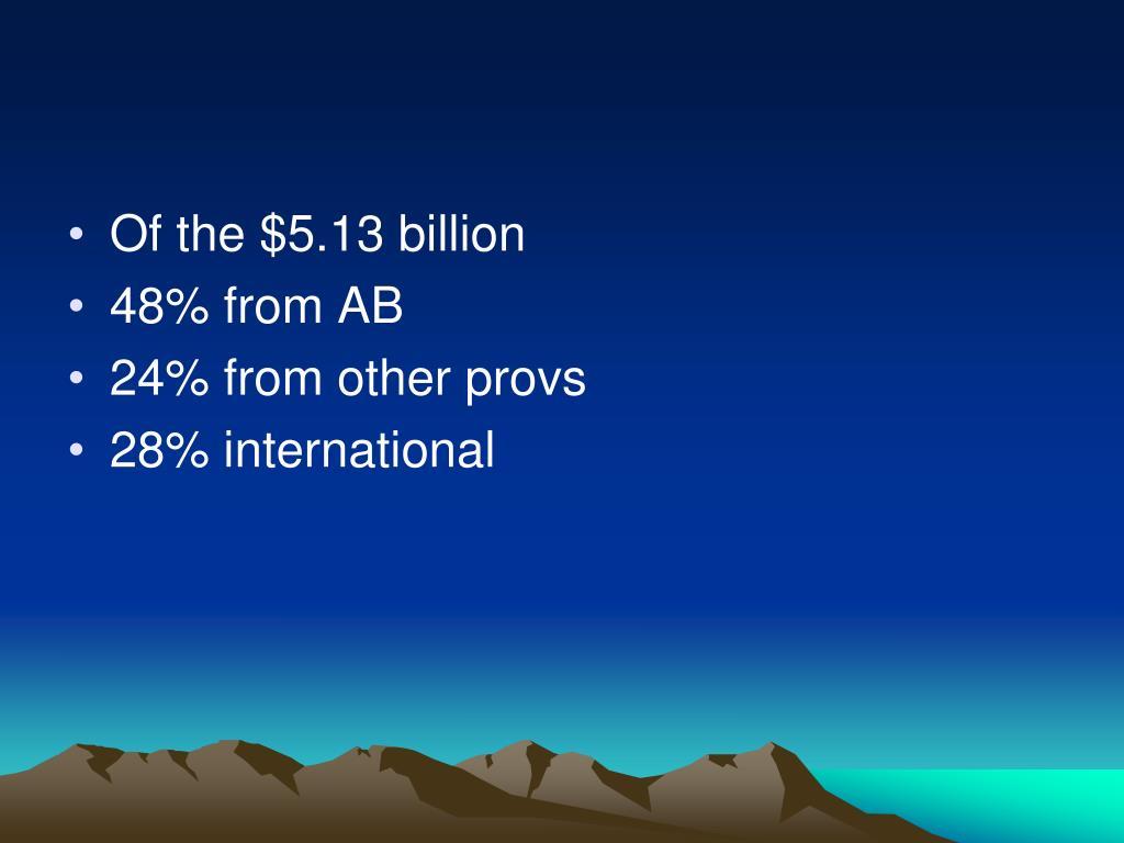 Of the $5.13 billion