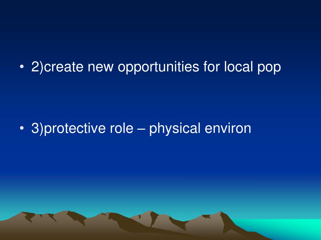 2)create new opportunities for local pop
