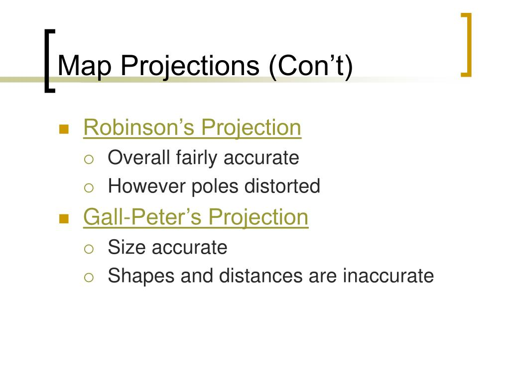 Map Projections (Con't)