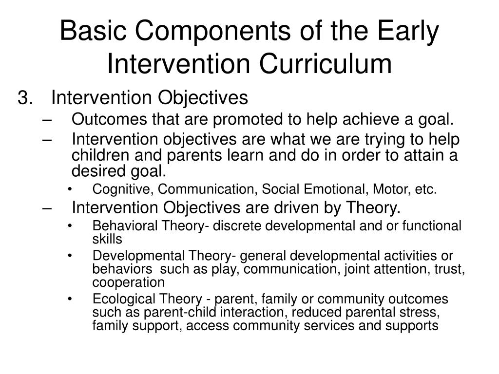Basic Components of the Early Intervention Curriculum
