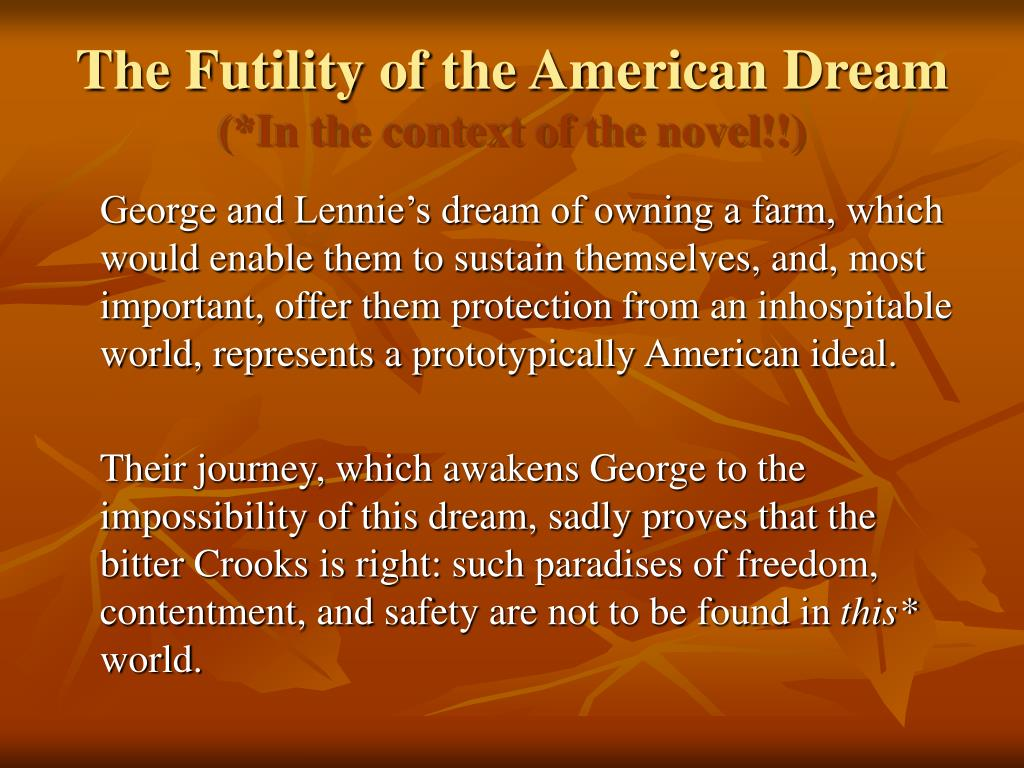 the american dream in the novel Gatsby and myrtle, in pursuit of the american dream, are a critique of  their  relation to the american dream in the novel to criticise the state of.