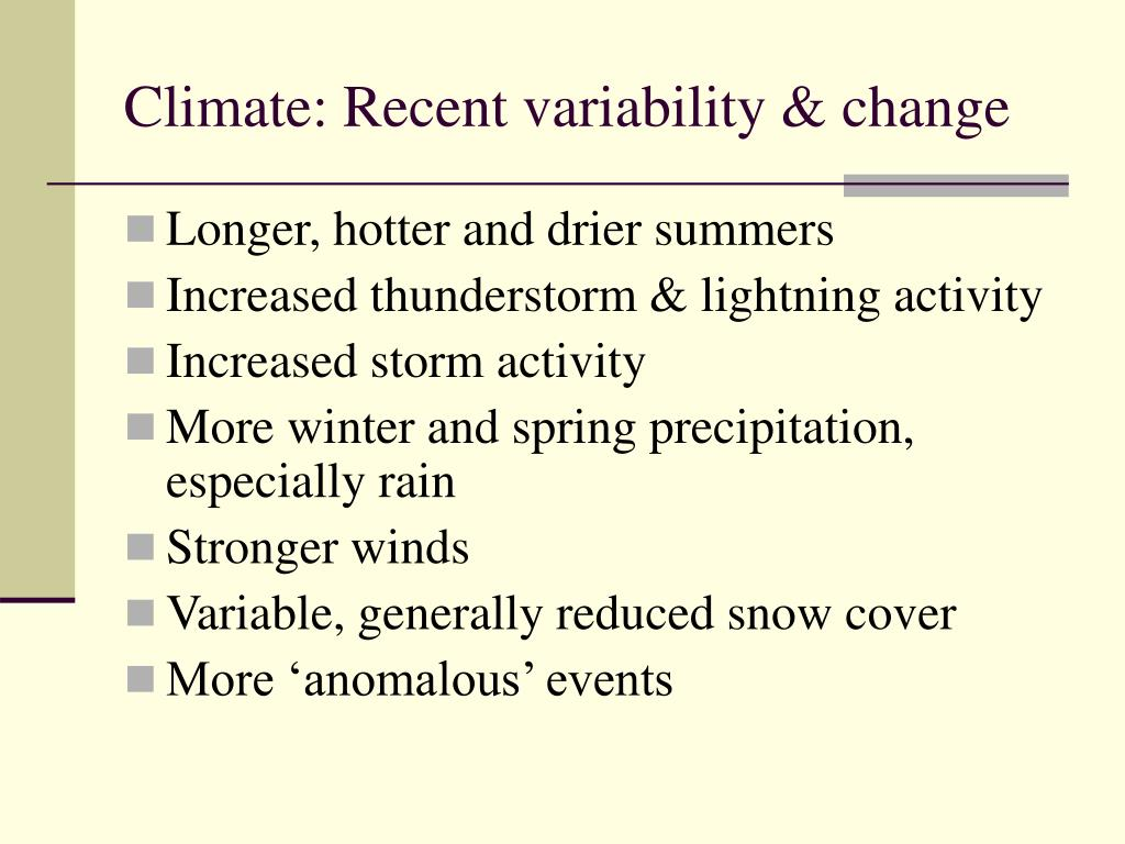 Climate: Recent variability & change