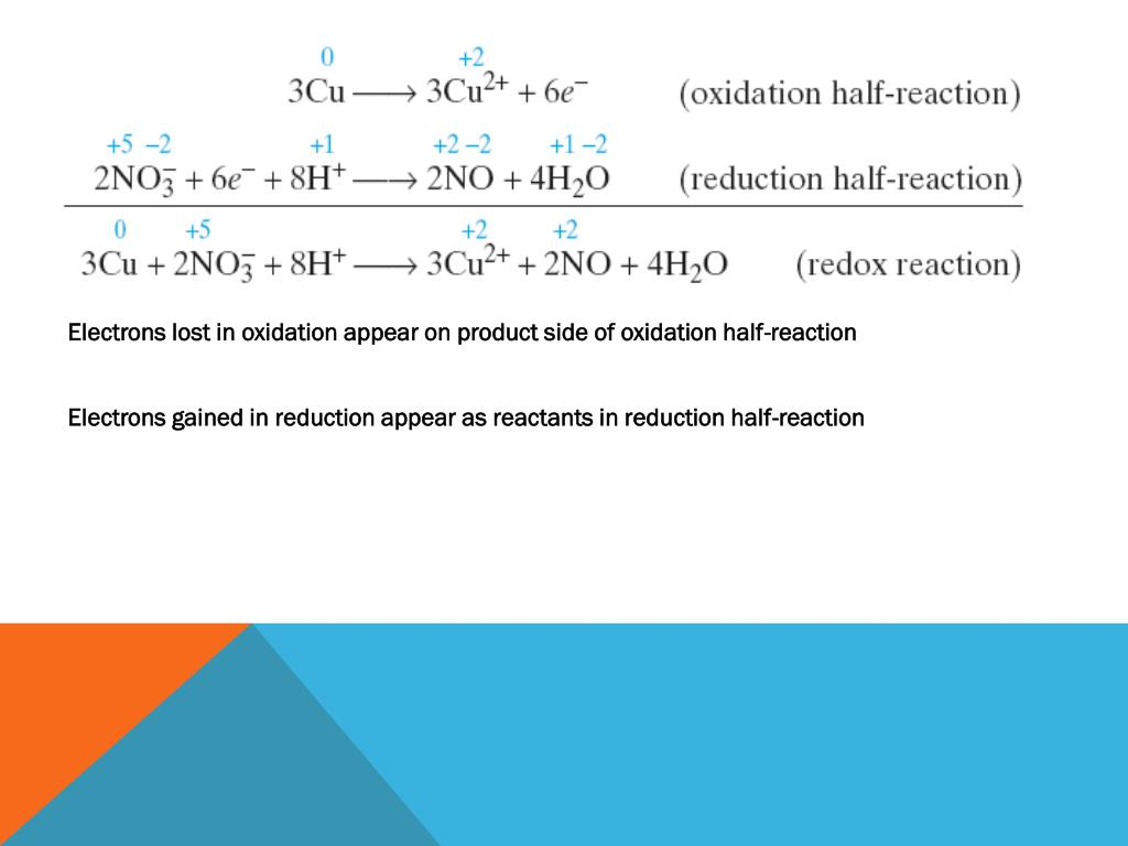 Electrons lost in oxidation appear on product side of oxidation half-reaction