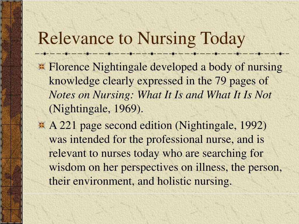 florence nightingales views on holistic care provided by nurses American holistic nursing association (ahna), dr barbara dossey, founder of the american holistic nursing association, wrote an inspiring and insightful biography of florence nightingale and, the ahna credited nightingale for being the first holistic nurse in a position statement[2.
