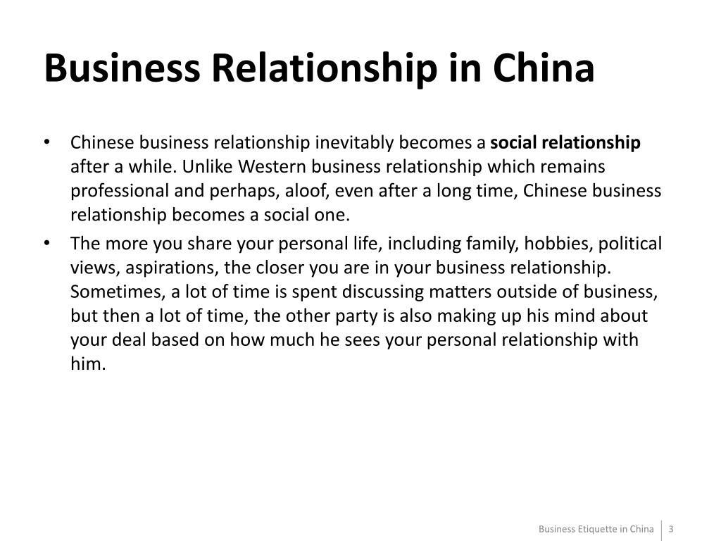 Business Relationship in China