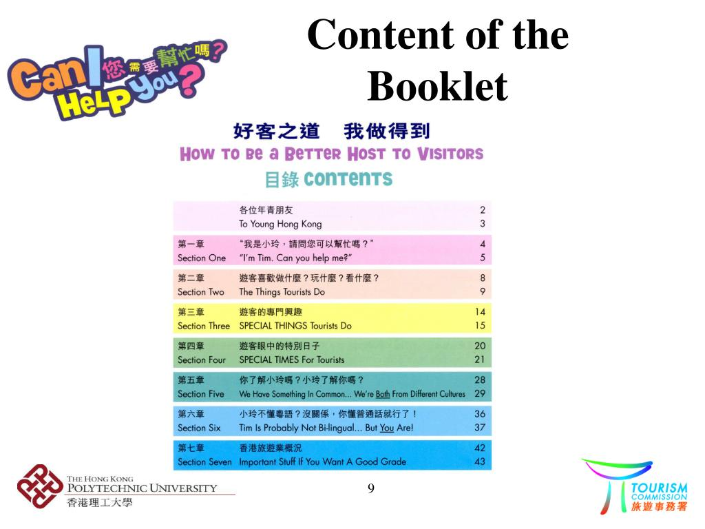 Content of the Booklet