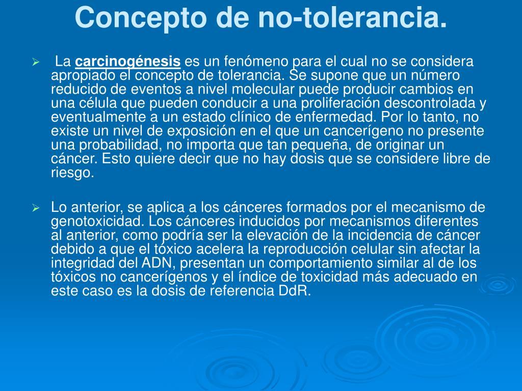 Concepto de no-tolerancia.