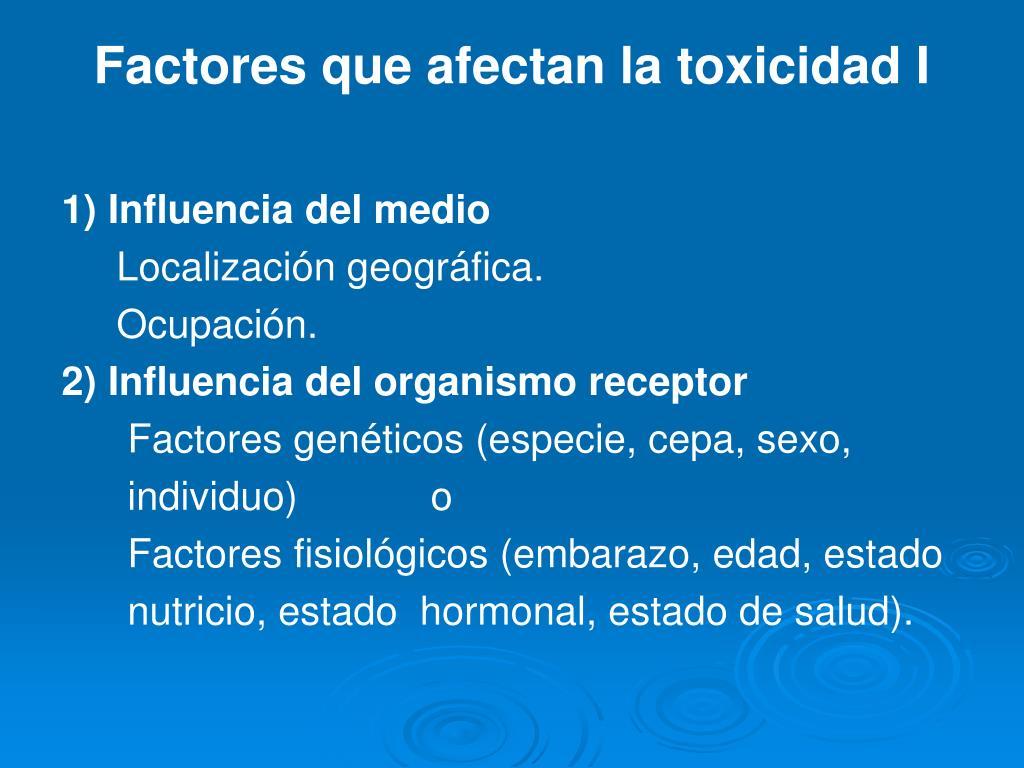 Factores que afectan la toxicidad I