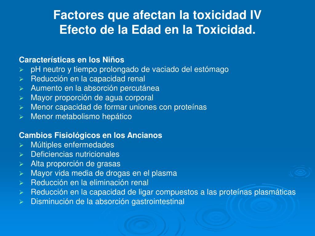 Factores que afectan la toxicidad IV